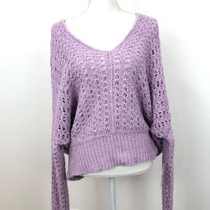Free People Best Of You V Neck Purple Sweater LG